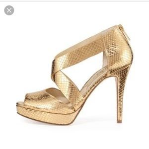 MICHAEL KORS  Ariel gold metallic snake heels
